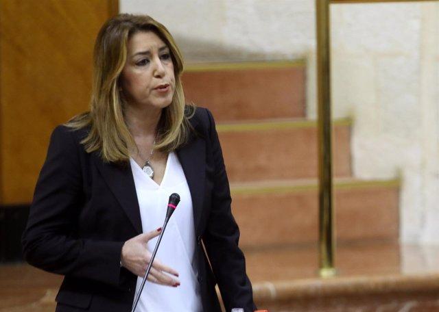 La presidenta de la Junta de Andalucía, Susana Díaz, en el Parlamento