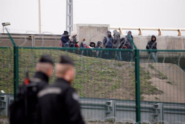 Inmigrantes franceses en el paso de Calais