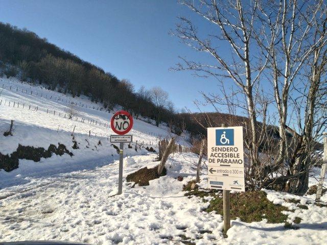 Teverga, montaña, nieve, invierno, turismo rural, senda accesible, senderismo