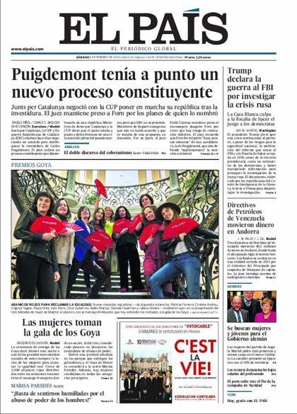 Las portadas de los periódicos de hoy, sábado 3 de febrero de 2018