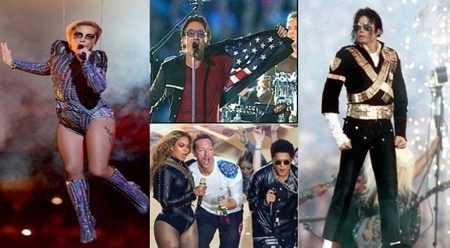 LADY GAGA, U2, BEYONCE, COLDPLAY, BRUNO MARS Y MICHAEL JACKSON