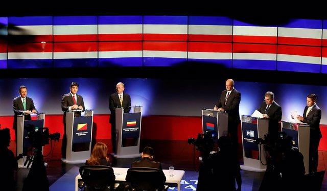 Costa Rica's presidential candidates Antonio Alvarez Desanti, Carlos Alvarado, R