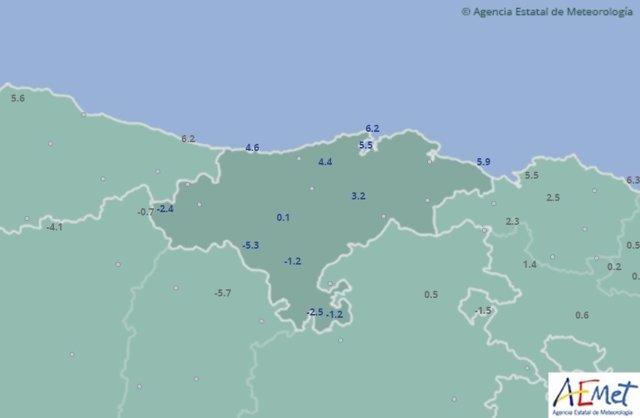 Temperaturas mínimas en Cantabria. 3 de febrero.