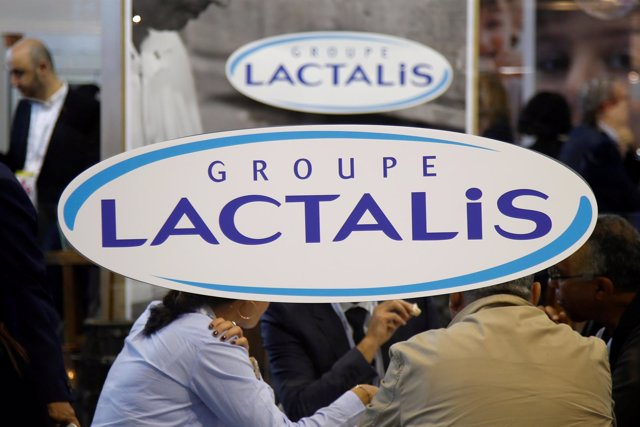 Logo of the dairy group Lactalis are seen at the food exhibition Sial in Villepi