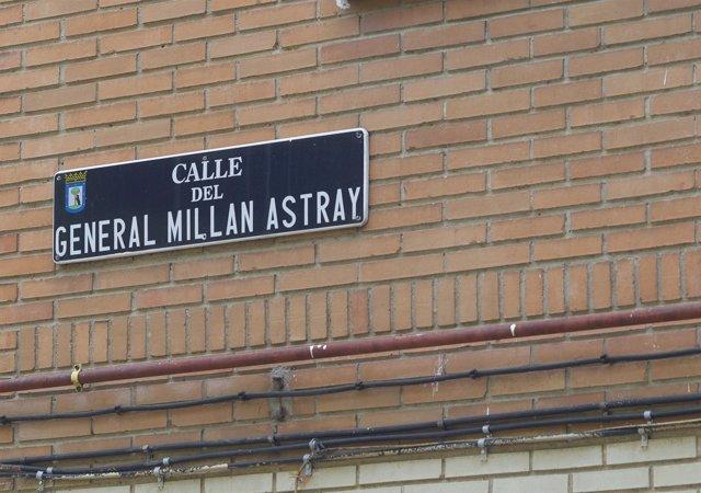 Símbolos y calles franquistas, franquismo, calle del general Millán Astray