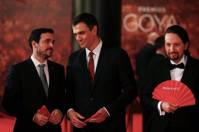 Pedro Sánchez, Pablo Iglesias y Alberto Garzón
