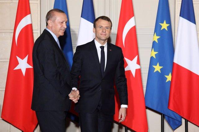 Emmanuel Macron y Recep Tayyip Erdogan en París