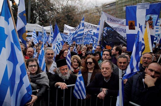 Mamifestación por Macedonia en Atenas