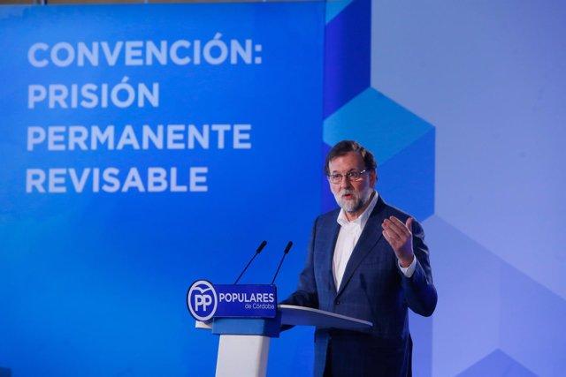 Mariano Rajoy en la convención del PP sobre prisión permanente revisable