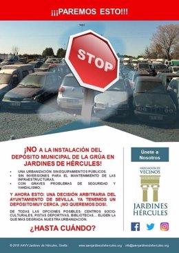 Cartel en contra de la reubicación del depósito de la grúa.