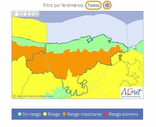 Riesgo de nieve en Cantabria. 5 de febrero