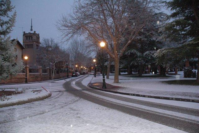 Zona del Ensanche de Teruel, con nieve