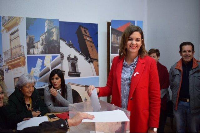 Sandra Gómez, en el momento de la votación