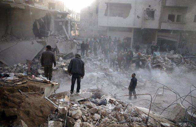Bombardeo aéreo en una localidad de Ghuta Oriental