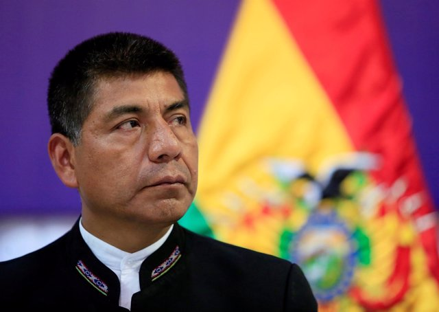 Bolivia's Foreign Minister Fernando Huanacuni attends a news conference at the v
