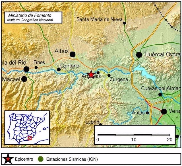 Mapa con el epicentro del terremoto registrado en Arboleas (Almería)