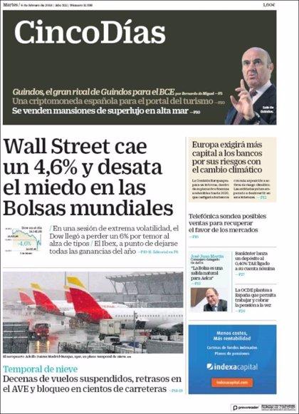 Las portadas de los periódicos económicos de hoy, martes 6 de febrero