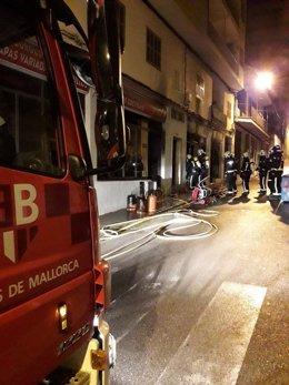 Incendio en en bar de s'Arenal