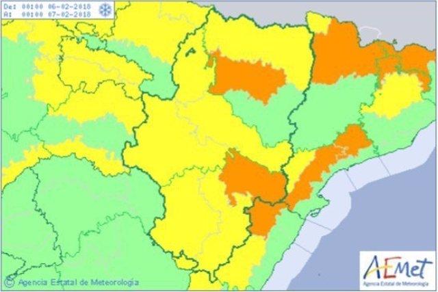 Aviso naranja por nevadas en el centro de Huesca y en el Bajo Aragón