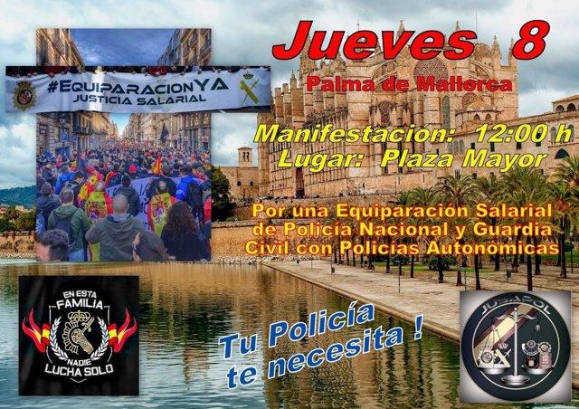Cartel de la manifestación de Jusapol