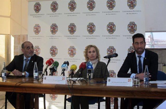 La Rectora De La UPSA En El Encuentro Con Medios.