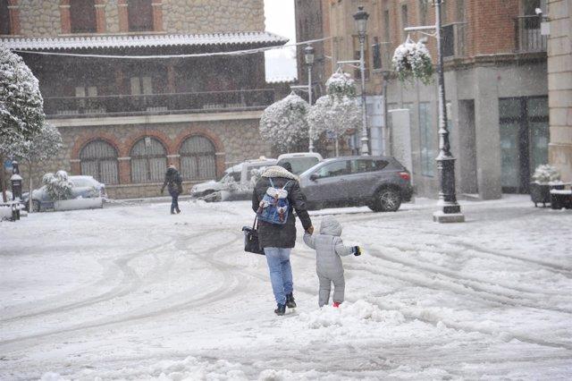 Nieve en la ciudad de Teruel