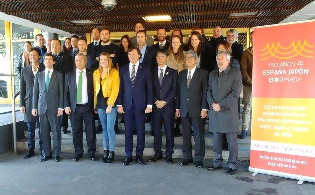 Belmonte, Lete y Blanco en la firma del acuerdo entre RFEN y Yamaguchi