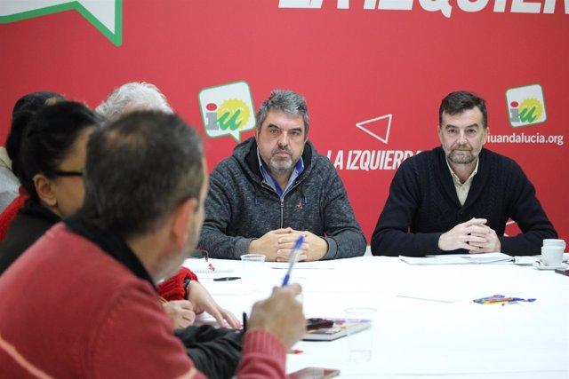 Los líderes andaluces de IU y CGT reunidos este martes