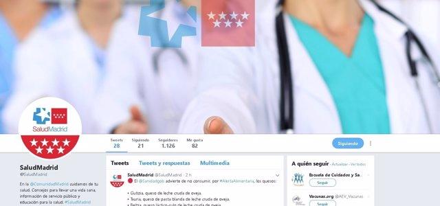 Imagen del nuevo perfil @SaludMadrid