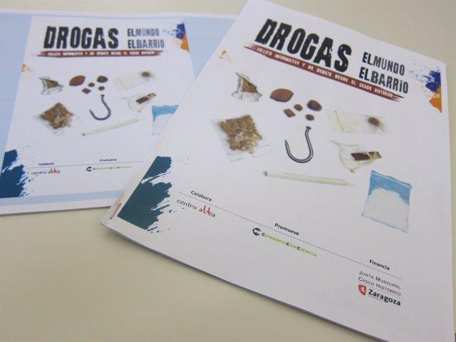 Folleto sobre drogras del Ayuntamiento de Zaragoza