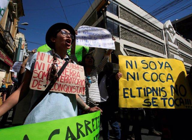 Activistas den defensa del TIPNIS en La Paz