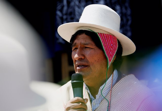 Bolivia's President Evo Morales speaks in Chipaya where ethnic group install fir