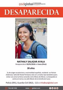 Nathaly Salazar, chica de Valencia desaparecida en Perú