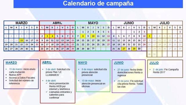 Calendario campaña de la Renta 2017