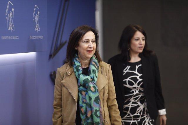 Rueda de prensa de Margarita Robles y Adriana Lastra en el Congreso