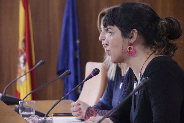 La líder de Podemos Andalucía, Teresa Rodríguez, en rueda de prensa