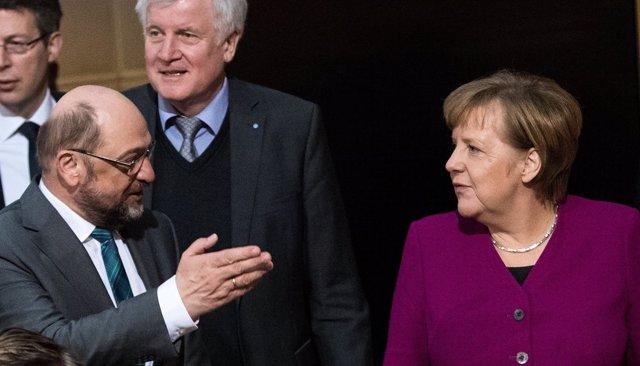 Martin Schulz, Horst Seehofer y Angela Merkel