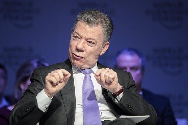 Juan Manuel Santos en el Foro de Davos