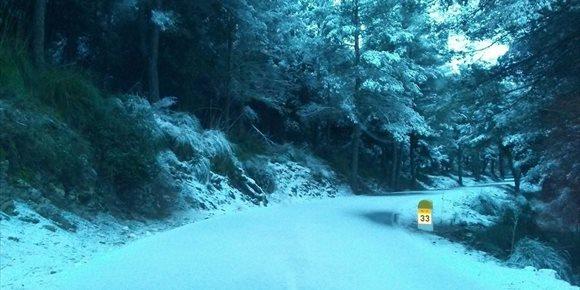 4. El tráfico en las carreteras de la Serra de Tramuntana vuelve a la normalidad tras la nevada de este viernes