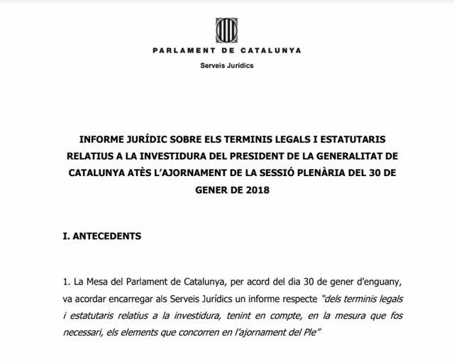 Cabecera del informe de los letrados sobre los plazos de la investidura
