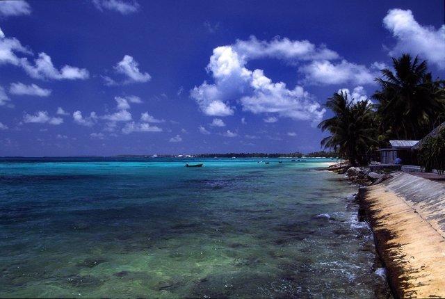 Una playa de Tuvalu