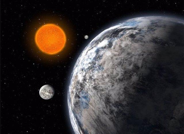 Impresión artística de un sistema estelar con tres supertierras