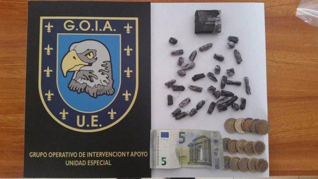 Droga intervenida por la Policía Local de Las Palmas de Gran Canaria
