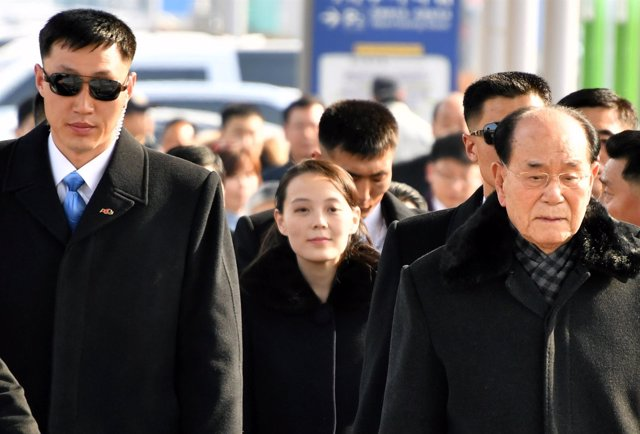 Delegación de Corea del Norte encabezada por Kim Yo-jong