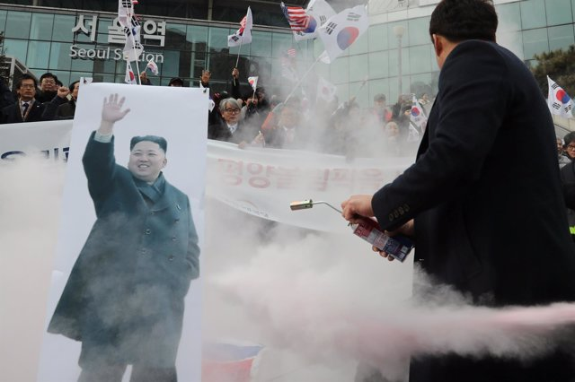Manifestación contra Corea del Norte en Seúl