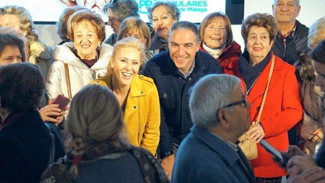 Elías Bendodo y Carolina España acto pensiones mayores PP málaga