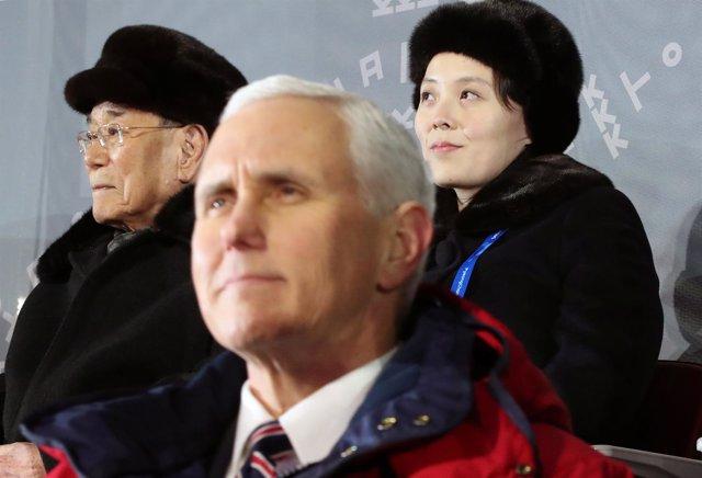 Mike Pence, Kim Yong Nam y Kim Yo Jong