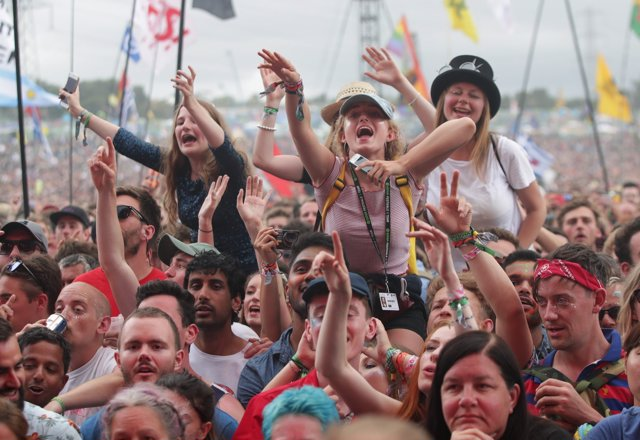 The crowd watching The xx performing on the Pyramid Stage, at the Glastonbury Fe