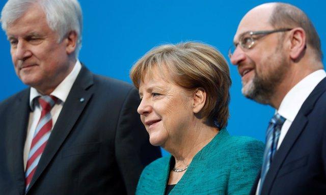 Horst Seehofer, Angela Merkel y Martin Schulz