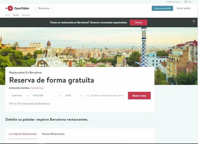Página web de Opentable